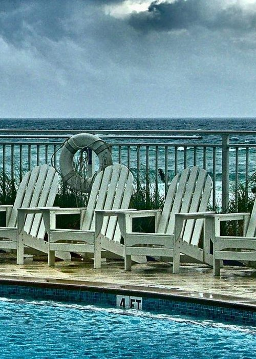 Gulf Of Mexico Greeting Card featuring the photograph Poolside With A View by Julie Dant