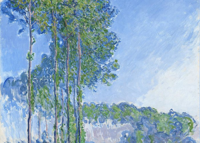 Impressionist Greeting Card featuring the painting Poplars by Claude Monet