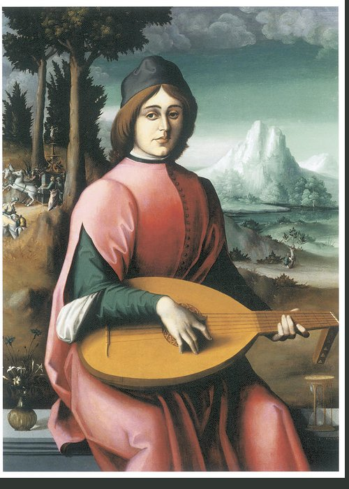 Bachiacca Greeting Card featuring the painting Portrait Of A Young Man With A Lute by Bachiacca