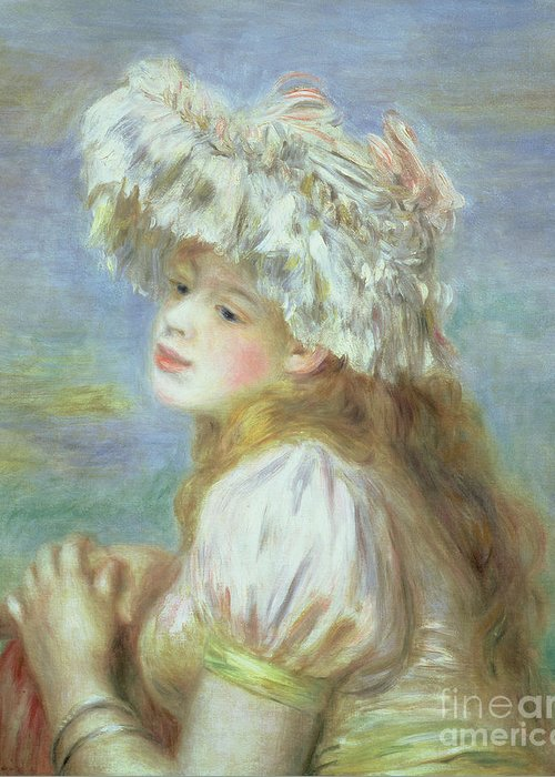 Impressionist; Female; Susuki Collection Greeting Card featuring the painting Portrait Of A Young Woman In A Lace Hat by Pierre Auguste Renoir