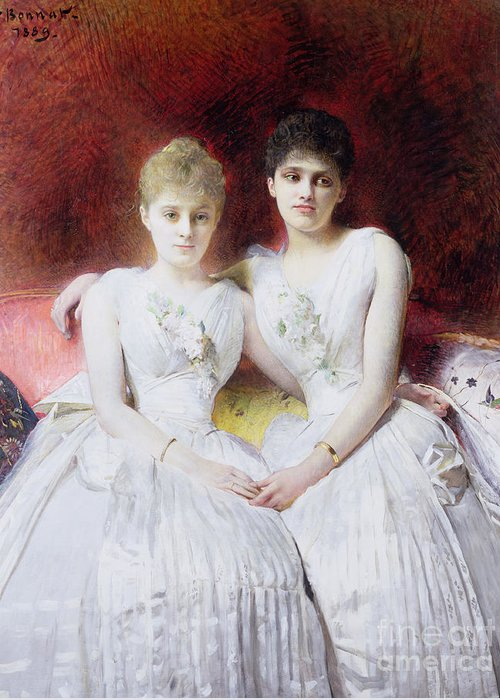 Portrait Greeting Card featuring the painting Portrait Of Marthe And Terese Galoppe by Leon Joseph Bonnat