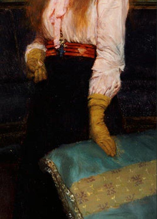 Portrait Of Miss Macwirter Greeting Card featuring the painting Portrait Of Miss Macwirter by Sir Lawrence Alma-Tadema