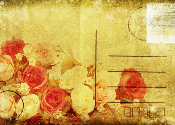 Address Greeting Card featuring the photograph Postcard With Floral Pattern by Setsiri Silapasuwanchai