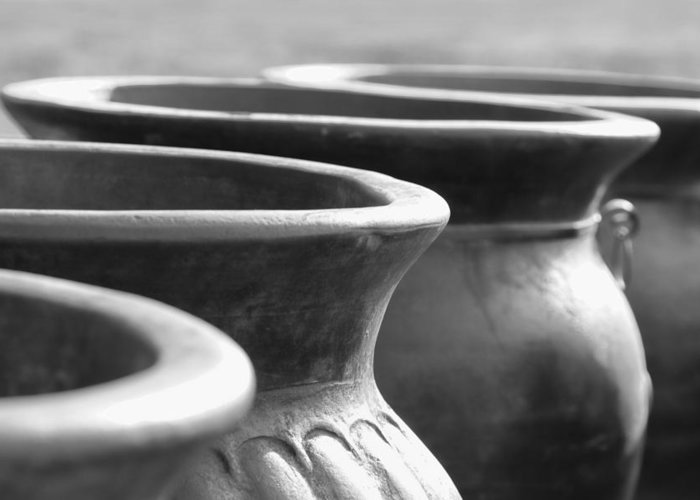 Terracotta Greeting Card featuring the photograph Pots In Black And White by Kathy Clark