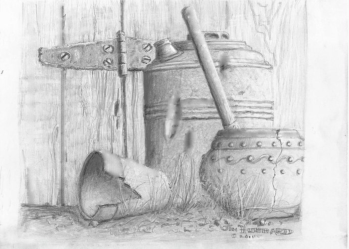 Still Life Greeting Card featuring the drawing Potting Shed by Jim Hubbard