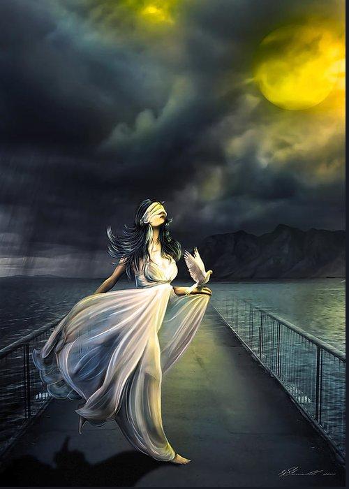 Atmospheric Greeting Card featuring the digital art Power Of Faith by Svetlana Sewell