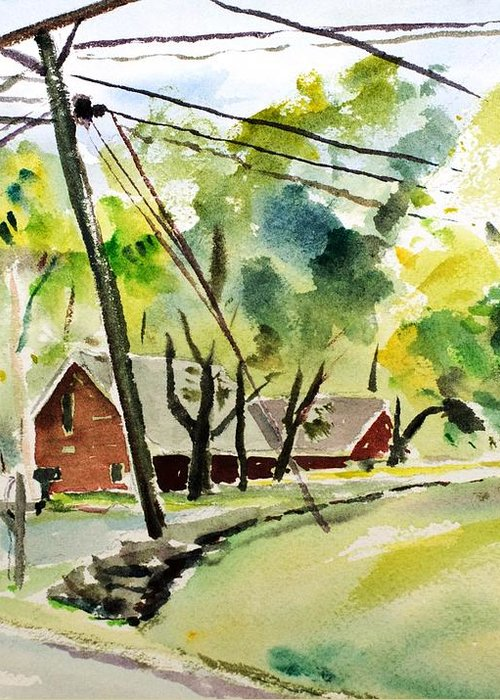 Powerlines Greeting Card featuring the painting Power Pole by Scott Nelson