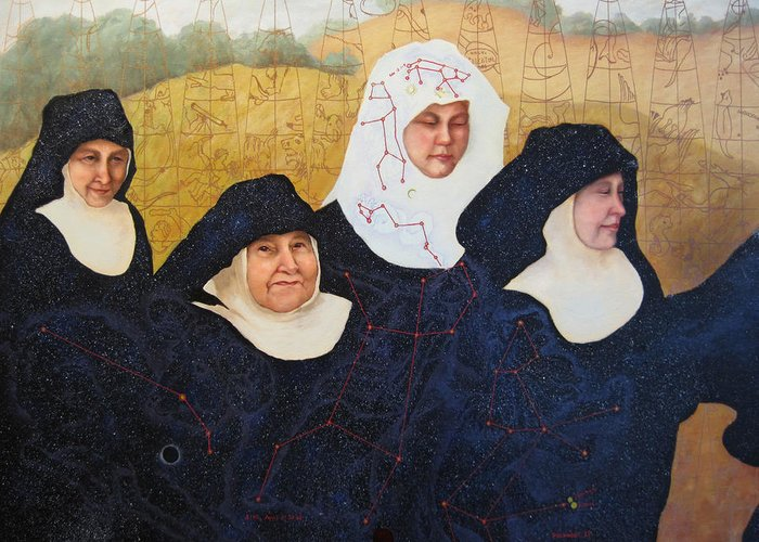 Figures Greeting Card featuring the painting Praenuntius by Leda Miller