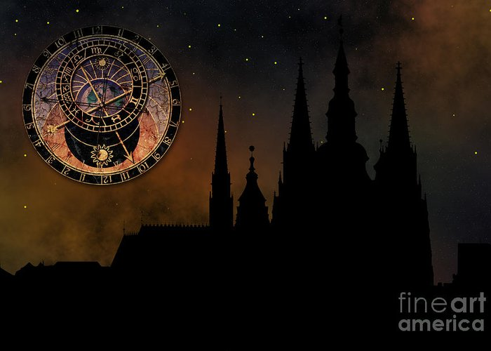 Hradcany Greeting Card featuring the digital art Prague Casle - Cathedral Of St Vitus - Monuments Of Mysterious C by Michal Boubin