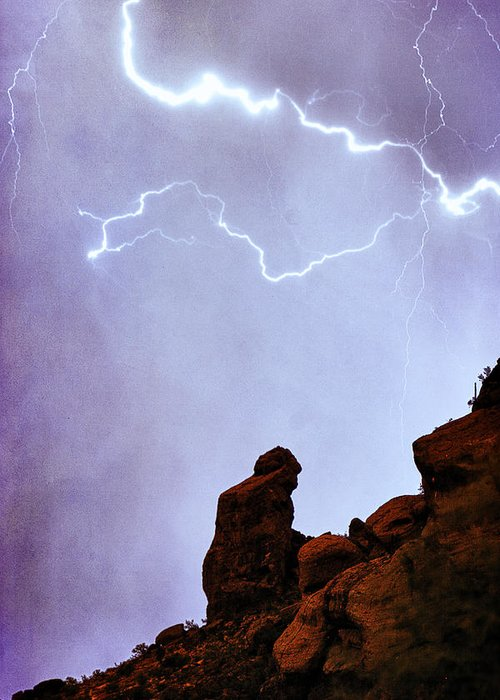 'praying Monk' Greeting Card featuring the photograph Praying Monk Camelback Mountain Paradise Valley Lightning Storm by James BO Insogna