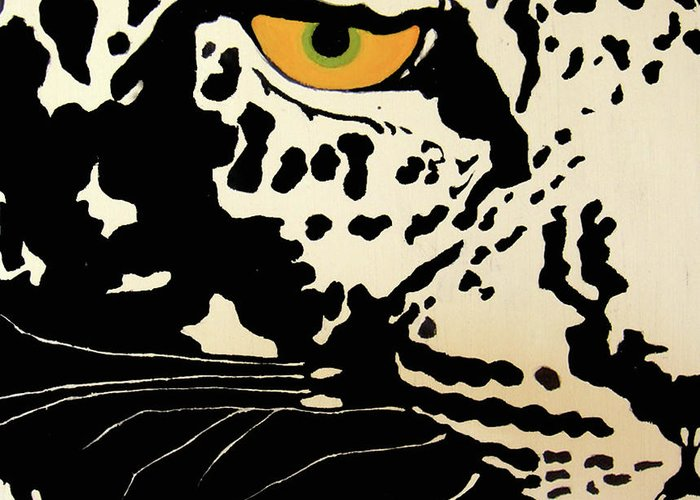 Leopard Greeting Card featuring the painting Preditor Or Prey by Boyd Art