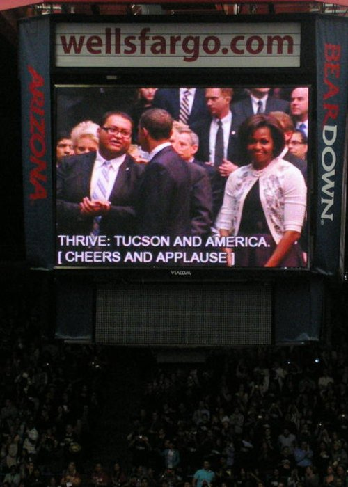President Obama Greeting Card featuring the photograph President And Michelle Obama Tucson by Jayne Kerr