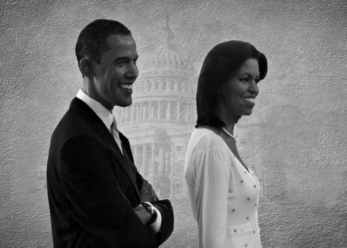 President Obama Greeting Card featuring the photograph President Obama And First Lady Bw by David Dehner