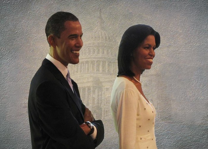 President Obama Greeting Card featuring the photograph President Obama And First Lady by David Dehner