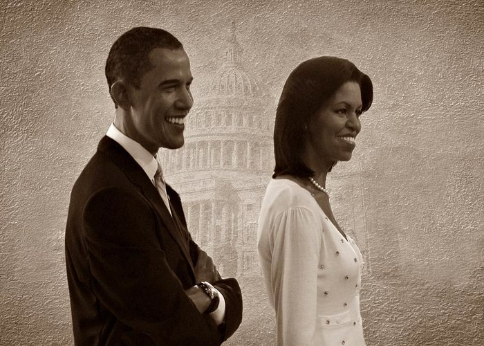 President Obama Greeting Card featuring the photograph President Obama And First Lady S by David Dehner