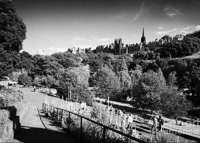 Princes Greeting Card featuring the photograph Princes Street Gardens Edinburgh Scotland Uk United Kingdom by Joe Fox