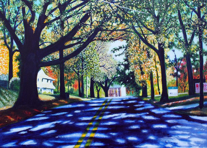 Charlotte Greeting Card featuring the painting Providence Road by Jerry Kirk
