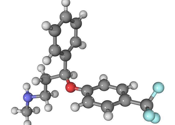 Molecular Greeting Card featuring the photograph Prozac Antidepressant Molecule by Laguna Design
