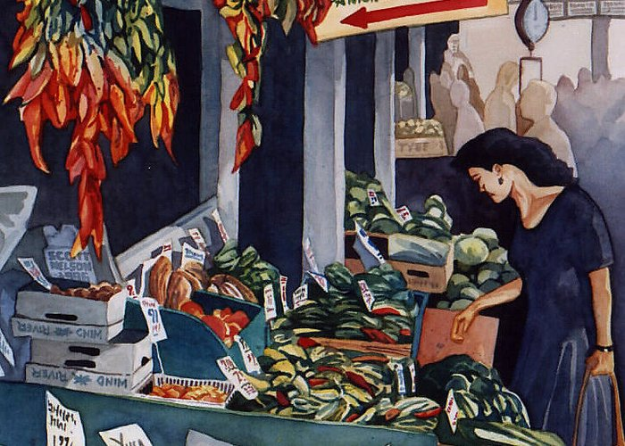 Seattle Greeting Card featuring the painting Public Market With Chilies by Scott Nelson