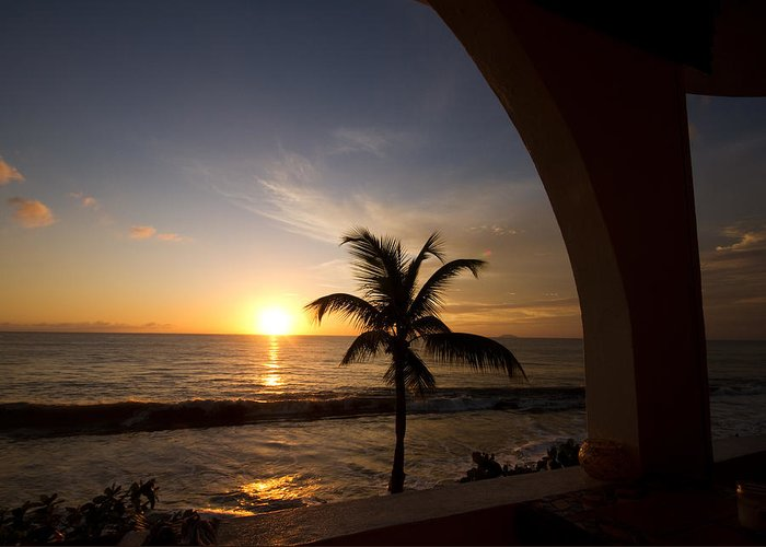 Sunset Greeting Card featuring the photograph Puerto Rican Sunset I by Tim Fitzwater