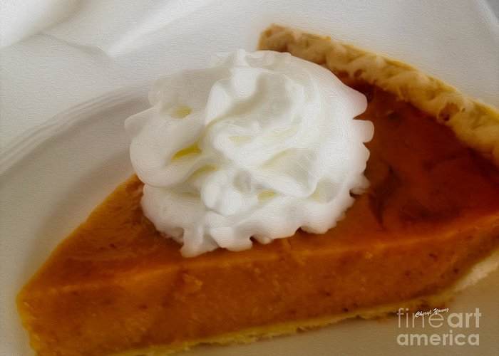 Pumpkin Pie Greeting Card featuring the photograph Pumpkin Pie by Cheryl Young