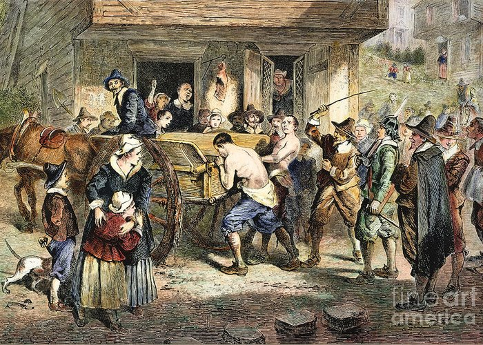 1670s Greeting Card featuring the photograph Puritans: Punishment, 1670s by Granger