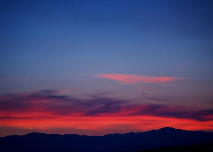 Sunset Greeting Card featuring the photograph Purple Mountains by Kevin Bone