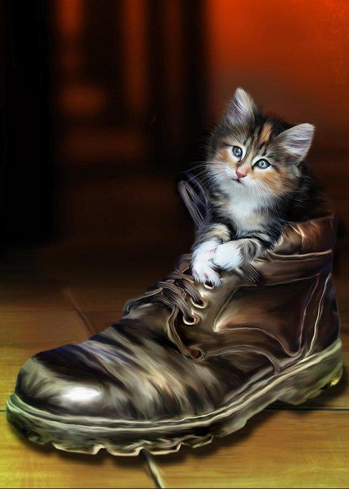 Shoe Greeting Card featuring the digital art Puss In Boot by Julie L Hoddinott