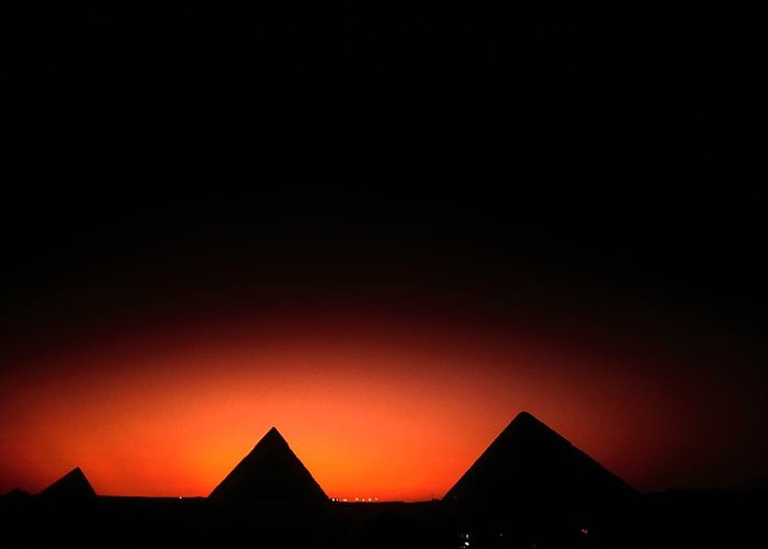 Pyramids Of Giza Greeting Card featuring the photograph Pyramids Of Giza At Sunset by Kenneth Garrett