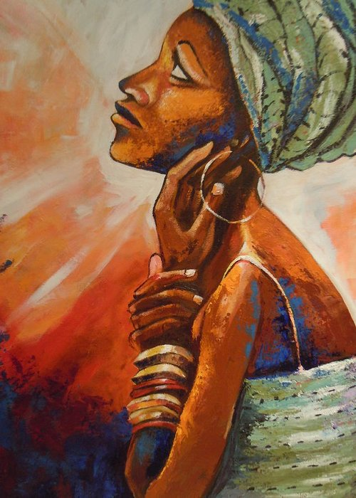 African Queen Greeting Card featuring the painting Queen by Michael Echekoba