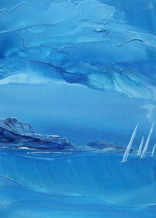 Sailboats Greeting Card featuring the painting Racing Sailboats by Danita Cole