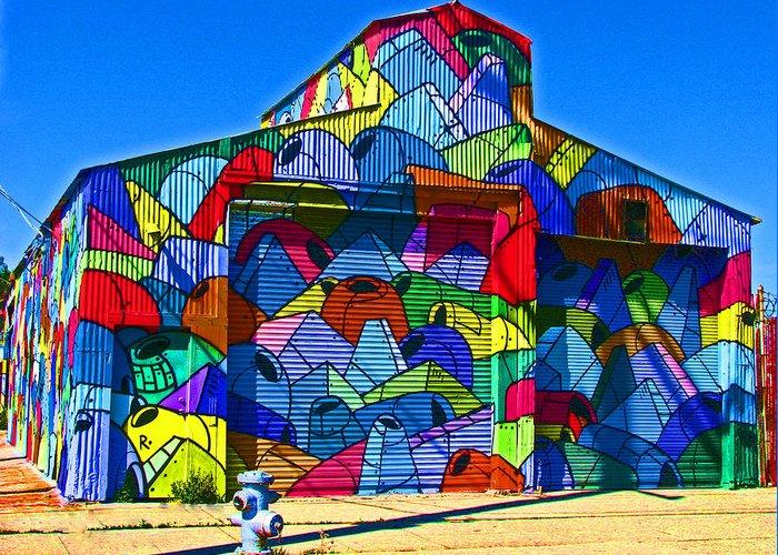 Rainbow Greeting Card featuring the photograph Rainbow Jug Building by Samuel Sheats