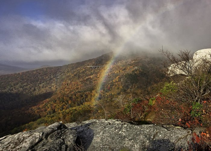 Blue Ridge Parkway Greeting Card featuring the photograph Rainbow Over Rough Ridge - Nc Autumn Scene by Rob Travis