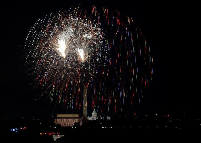 4th Of July Greeting Card featuring the photograph Raining Fire by David Hahn