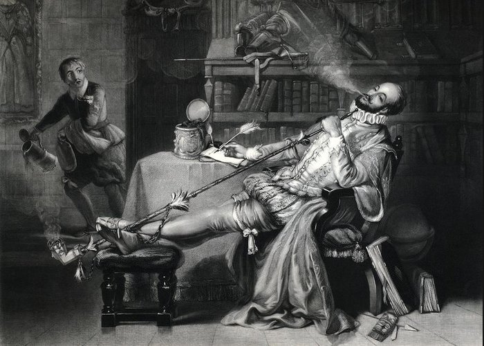 Walter Raleigh Greeting Card featuring the photograph Raleigh Smoking Tobacco, 16th Century by George Arents Collectionnew York Public Library
