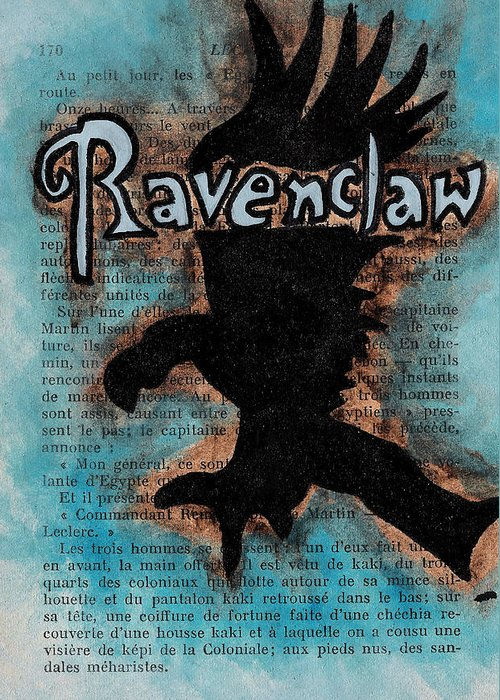 Ravenclaw Greeting Card featuring the painting Ravenclaw Eagle by Jera Sky