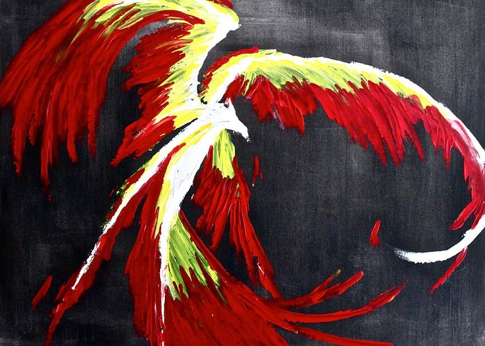 Phoenix Greeting Card featuring the painting Rebirth by Eric Chapman