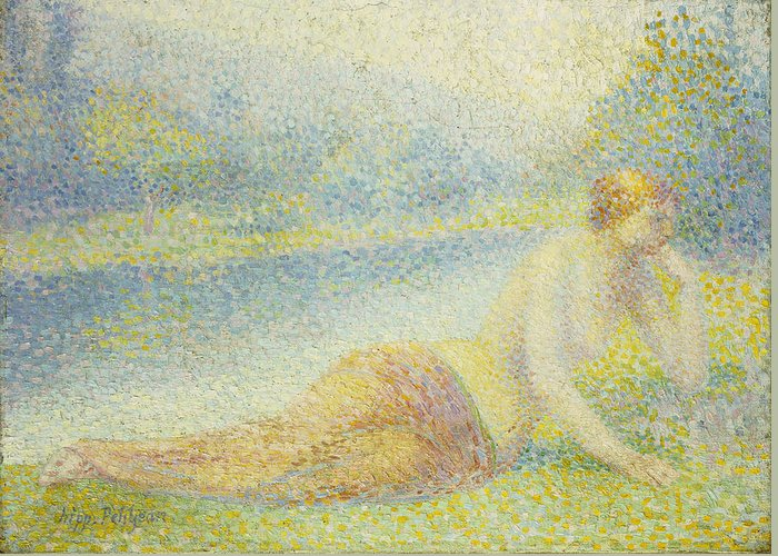 Nude Greeting Card featuring the painting Reclining Nude by Hippolyte Petitjean