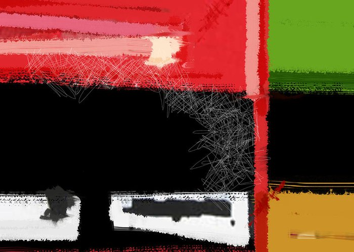 Abstract Greeting Card featuring the painting Red And Green Square by Naxart Studio