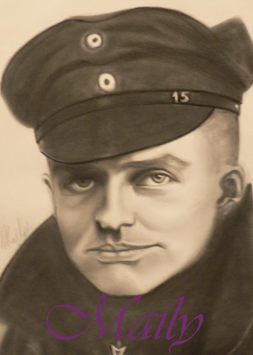Manfred Richthophen Wwi Greeting Card featuring the painting Red Baron by Maily