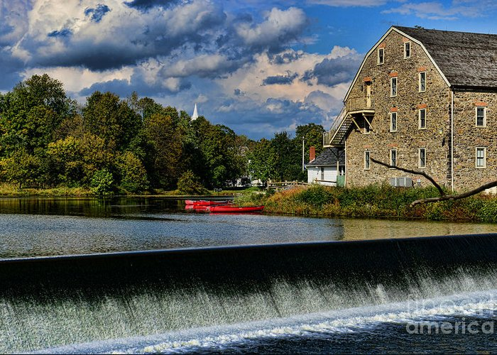 Paul Ward Greeting Card featuring the photograph Red Canoes At The Boathouse by Paul Ward