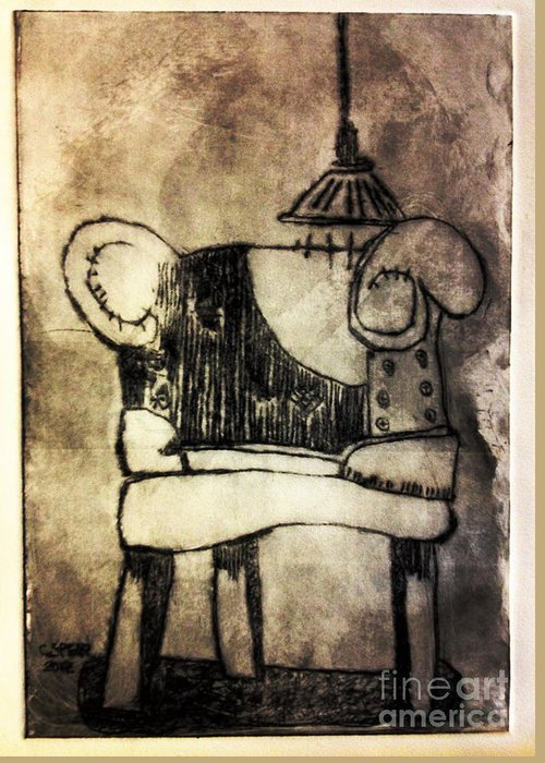 Drypoint Greeting Card featuring the painting Red Chair Of Reading Edition Of 6 by Charlie Spear
