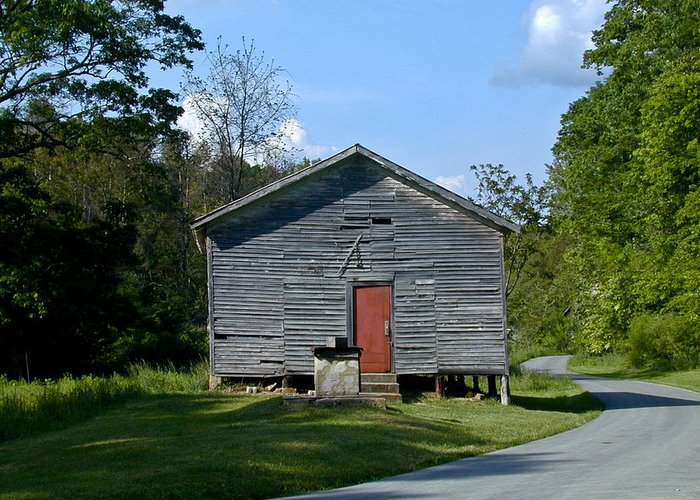 Red Greeting Card featuring the photograph Red Door Of The One Room School House by Douglas Barnett