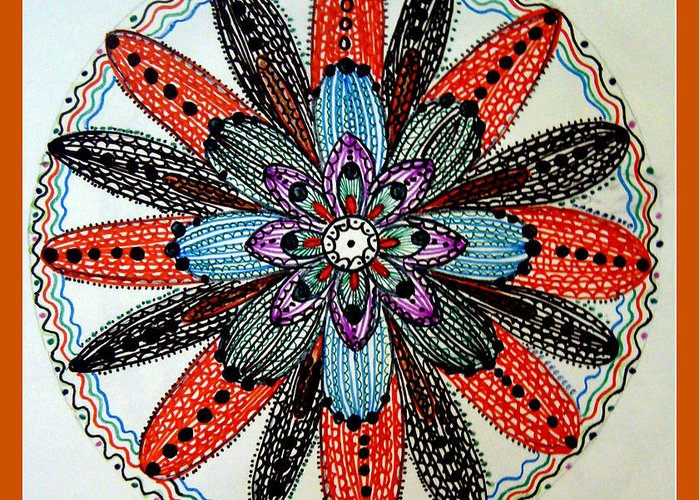 Flower Mandal. Greeting Card featuring the drawing Red Flower Mandala by Gladys Childers