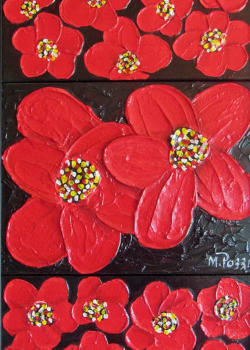New Greeting Card featuring the painting Red Flowers by Merlene Pozzi
