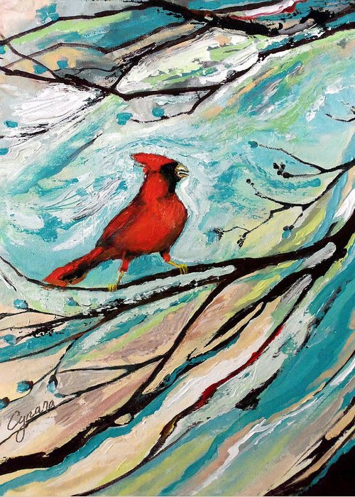 Redbird Greeting Card featuring the painting Red Fury by Cynara Shelton