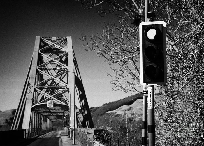 A828 Greeting Card featuring the photograph Red Light Traffic Control At The Single Track Connel Bridge On The A828 Coastal Route Road Over Loch by Joe Fox