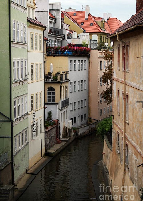Prague Greeting Card featuring the photograph Red Rooftops In Prague Canal by Linda Woods