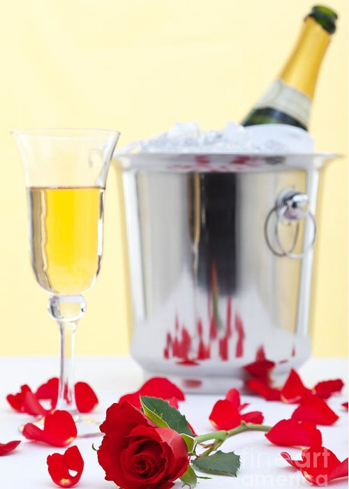Red Greeting Card featuring the photograph Red Rose And Champagne by Richard Thomas