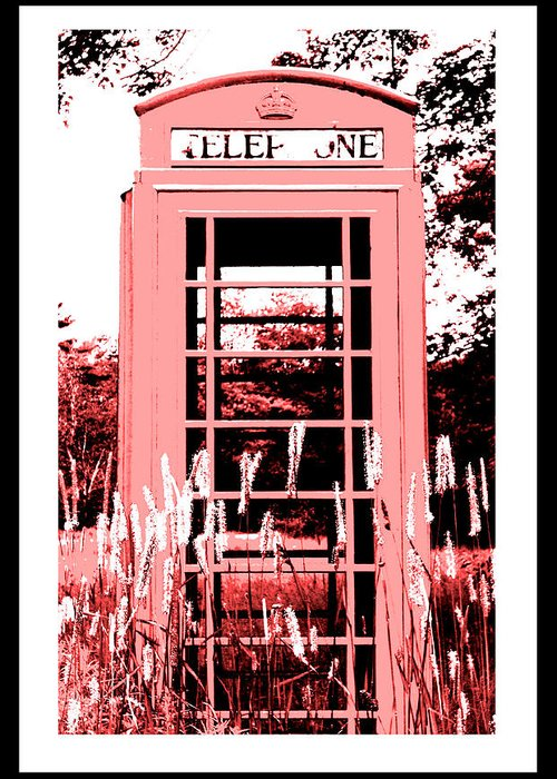 Red Telephone Booth Greeting Card featuring the photograph Red Telephone Booth In A Field In Maine by Kara Ray